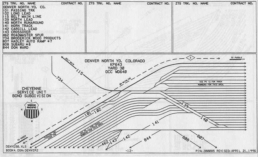 denver north yard track diagram - #2 auto ramp area